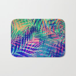 Colorful abstract palm leaves 2 Bath Mat