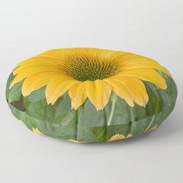 Yellow Flower Photography, Sunny Yellow Coneflower Digital Photography Custom Art Floor Pillow
