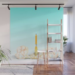 Creative takeoff, pencil taking off into the sky. Wall Mural