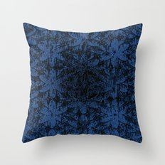 Blue Halftone Flowers II Throw Pillow