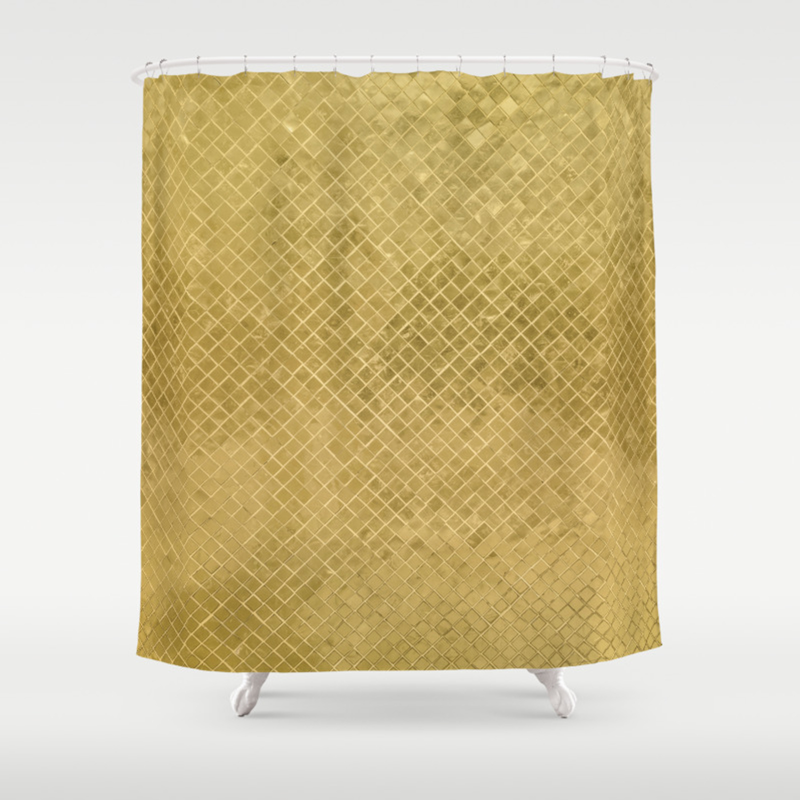 Modern Geometric Elegant Stylish Luxury Gold Shower Curtain
