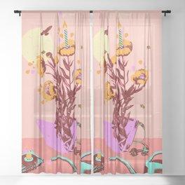 FLOWER CASSETTE Sheer Curtain