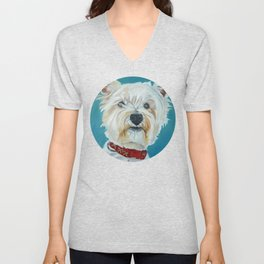 Jesse the Beautiful West Highland White Terrier Dog Portrait Unisex V-Neck