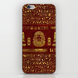 Golden Egyptian Sphinx on red leather iPhone Skin