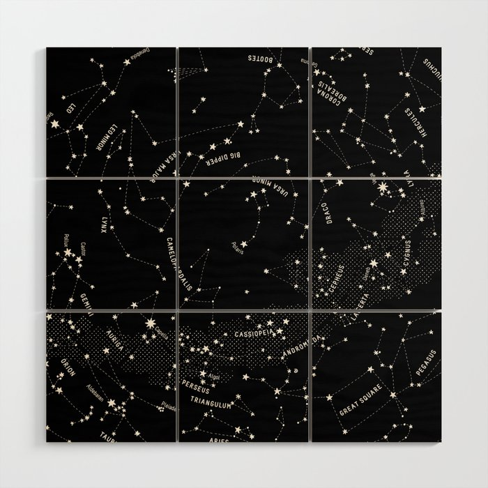 Constellation Map - Black Wood Wall Art