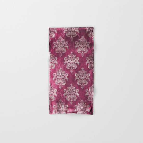 Old shabby vintage damask pink purple pattern Hand & Bath Towel
