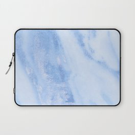 Shimmery Pure Cerulean Blue Marble Metallic Laptop Sleeve