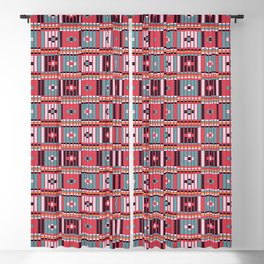Vintage red teal white abstract beaded pattern Blackout Curtain