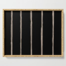 Skinny Strokes Gapped Vertical Nude on Black Serving Tray