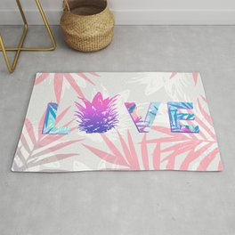 Love Pineapple Typography Tropical Boho Summer Vibes Rug