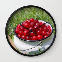 Prunus cerasus sour cherry fruits Wall Clock