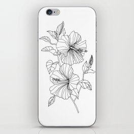 Hibiscus Flower drawing iPhone Skin