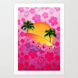 Surfer Girl Pink Tropical Flowers Art Print