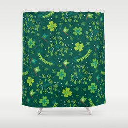 St Patrick's Day Lucky Shamrock Party Shower Curtain