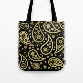 Paisley Funky Design Black and Gold Tote Bag