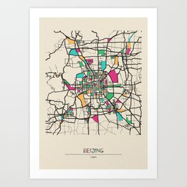 Colorful City Maps: Beijing, China Art Print
