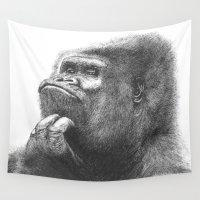 gorilla Wall Tapestries featuring Gorilla by Nasir Nadzir