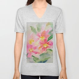 Pink Holiday Flowers Unisex V-Neck