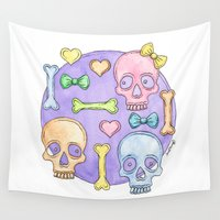 pastel goth Wall Tapestries featuring Pastel Skulls by Tumbling Tortoises