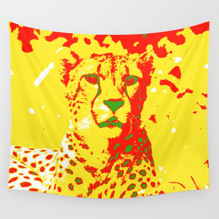 Pop Art Cheetah Wall Tapestry by jamcolorsspecial | Society6
