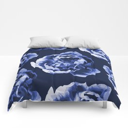 Pastel Blue Flowers On A Dark Blue Background #decor #society6 #buyart Comforters