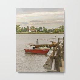 Fishing Boats at Santa Lucia River in Montevideo, Uruguay Metal Print