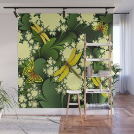 Yellow Dragonflies Wall Mural
