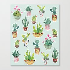 Cactus Pot Personalities Canvas Print