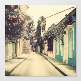 Just like a dream street, Cartagena (Retro and Vintage Urban, architecture photography) Canvas Print