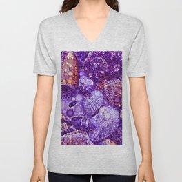 Seashells Abstract in Violet Unisex V-Neck