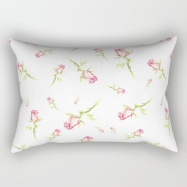Single Hand Painted Watercolor Pink Red Rose Rectangular Pillow