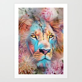 Colorful Lion Full Mane Surrounded by Flowers Art Print