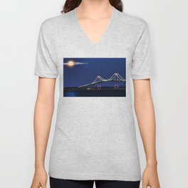 Full Moon and the Newport Bridge at Twilight- Newport, Rhode Island Unisex V-Neck