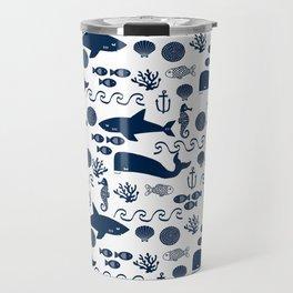 Sealife nautical navy and white modern trendy basic pattern print nursery pattern Travel Mug
