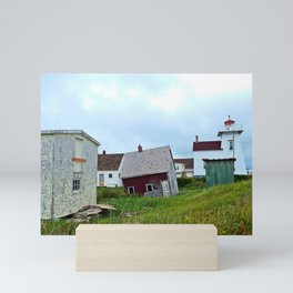 Lighthouse and shacks in North-Rustico PEI Mini Art Print
