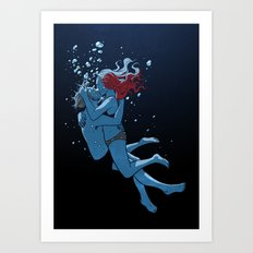 Underwater Kiss Art Print