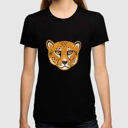 Wild Cheetah Face Pattern - Yellow T-shirt