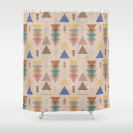 Minimalist Geometric Pendants in Earthtone Shower Curtain