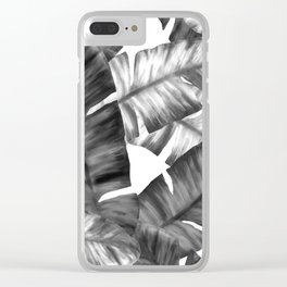Black And White Tropical Banana Leaves Pattern Clear iPhone Case