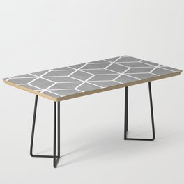 Light Grey and White - Geometric Textured Cube Design Coffee Table