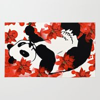 red panda Area & Throw Rugs featuring Panda by Saundra Myles