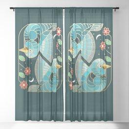 Beautiful Art Deco Midnight Bluebirds And Blossoms Sheer Curtain