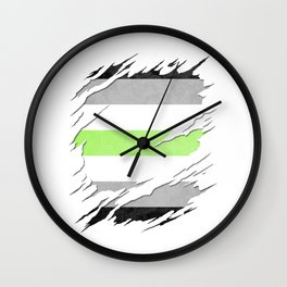 Agender Pride Flag Ripped Reveal Wall Clock