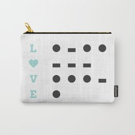 I Love U Morse Code Blue Carry-All Pouch