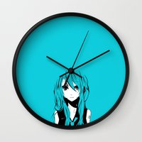 vocaloid Wall Clocks featuring Miku in a stream of colors by DPain