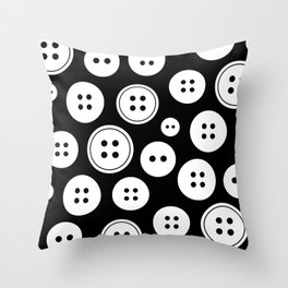 Black and White Buttons Pattern Throw Pillow