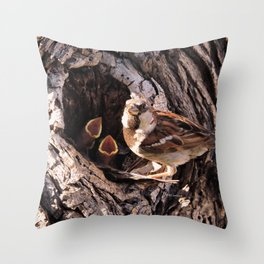 House Sparrow Keeping House Throw Pillow