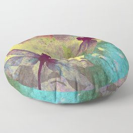 Painting Orchids and Dragonflies Floor Pillow