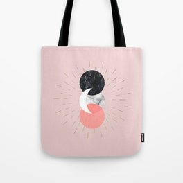 Moon and Sun on Pink and Marble Geometry #abstractart Tote Bag