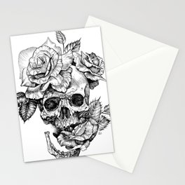 Black and White skull with roses pen drawing Stationery Cards